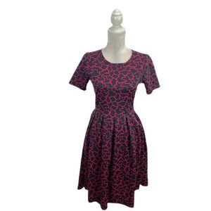 LuLaRoe Pink & Grey Fragmented Print Amelia Dress